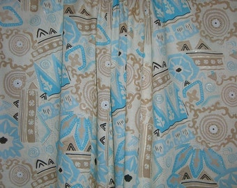 SPECIAL--Aqua and Coffee Abstract Print Cotton Lawn Fabric--One Yard