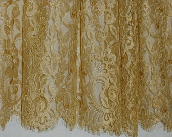 Gold Color Silky Leavers Chantilly Lace Fabric--One Yard