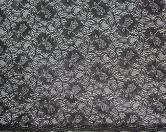 SPECIAL----Black Floral Pattern Soft Lace Fabric--BY THE Yard