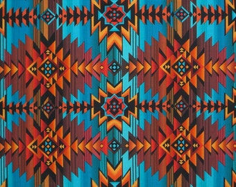Turquoise and Rust Southwest Blanket Print Pure Cotton Fabric--One YARD