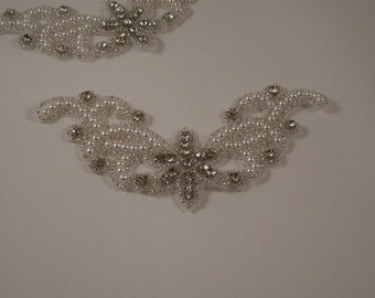 Pearl, Beaded and Rhinestone Applique--One Piece