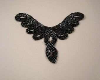 Gunmetal Beaded Applique--One Piece