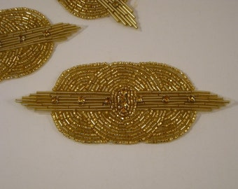Gold Beaded Deco Design Applique with Stones--One Piece