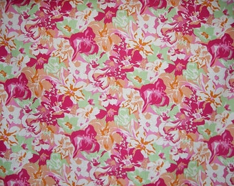 SPECIAL--Pink Salmon and Green Floral Print Stretch Linen Fabric--One Yard