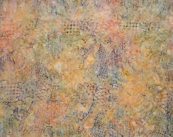 Muted Orange Floral Collage Print Cotton Batik Fabric--One Yard