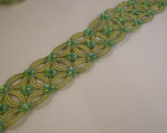 Green Embroidered/Sequins Circular Design Trim--One Yard