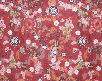 Dancing Place Red Aboriginal Print Pure Cotton Fabric--One Yard