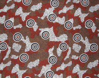 Amicitia Black Aboriginal Print Pure Cotton Fabric--One Yard