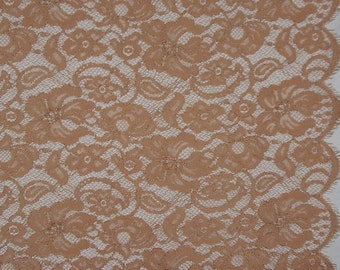 SPECIAL--Dusty Apricot Floral Design Leavers Chantilly Lace Fabric--One Yard