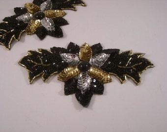 Black Gold and Silver Sequin Floral Design Applique--One Piece