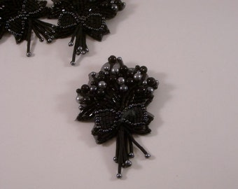 Black Beaded Bouquet Design Pin/Applique--One Piece