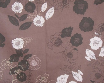 SPECIAL--Mocha Brown Floral Print Stretch Cotton Sateen Fabric--One Yard