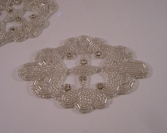 Medallion Silver Beaded and Rhinestone Applique-One Piece