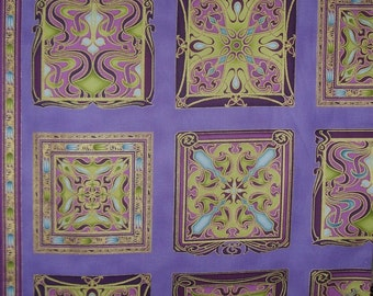 REMNANT--Purple and Metallic Gold Art Nouveau Block Print Pure Cotton Fabric--34 INCHES