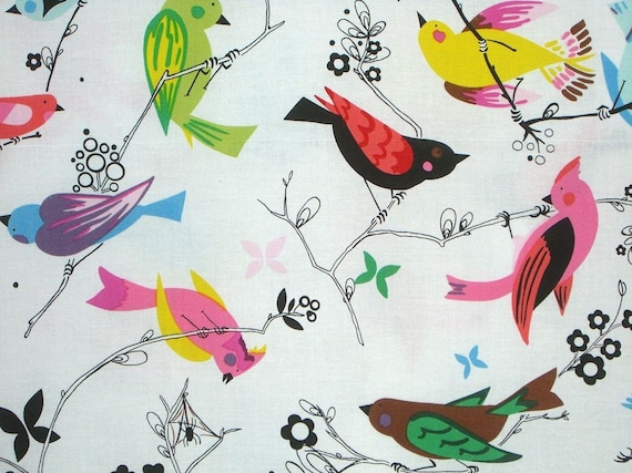 2 Remnants--Colorful Birds on Branches Print Cotton Fabric--1.75 Yards