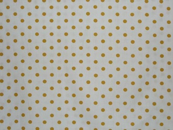 REMNANT--Mustard and White Polka Dot Print Cotton Fabric-7/8 Yard