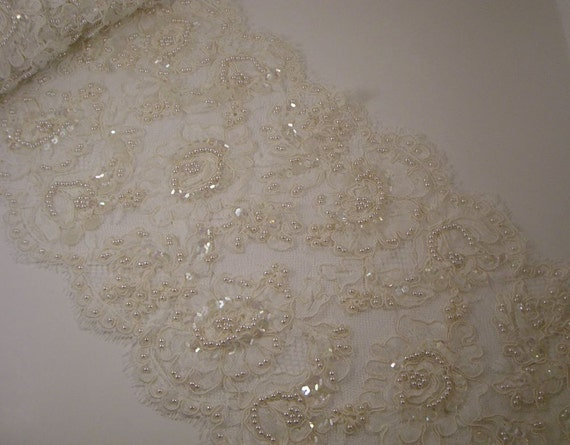 Ivory Beaded Alencon Lace Trim from France-One Yard
