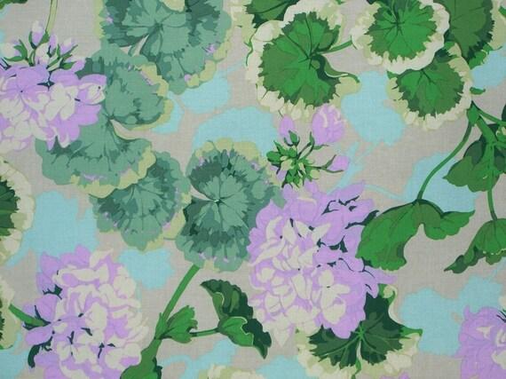 Lavender and Green Geranium Print Cotton Fabric --One Yard