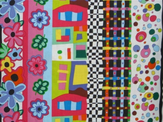 REMNANT--Abstract Stripe with Flowers Print Cotton Fabric--One Yard