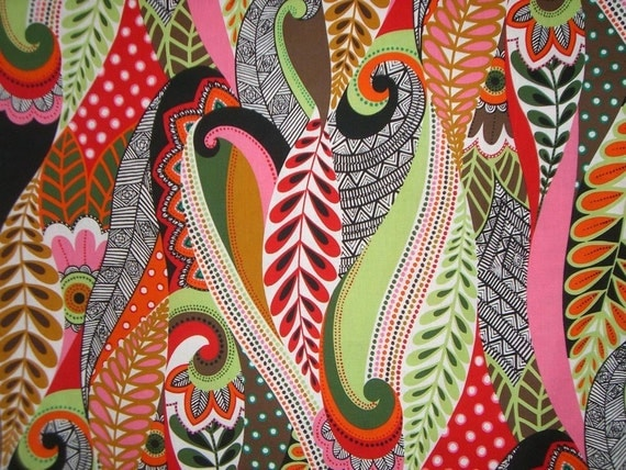 "REMNANT--Bright Paisley Cotton Print Fabric from Alexander Henry--35"" PIECE"