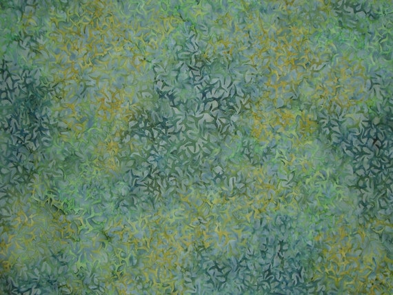 Shades of Green Batik Cotton Fabric--One Yard