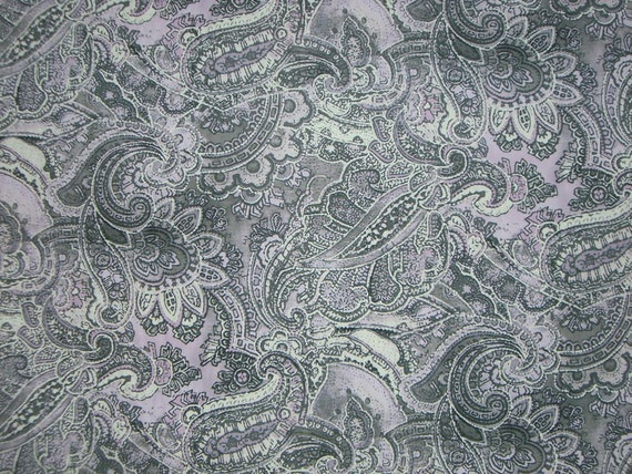 REMNANT--Lavender and Gray Paisley Print Pure Cotton Fabric--3/4 Yard