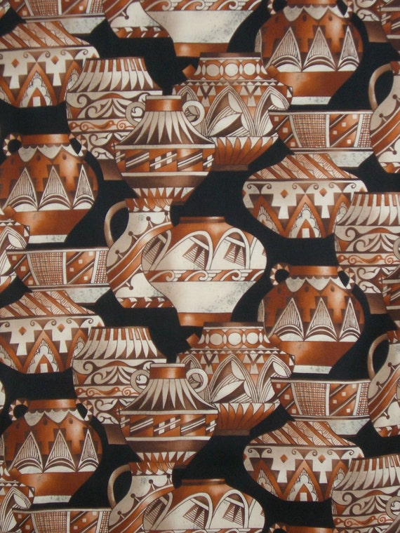 Southwest Indian Pots Print Cotton Fabric from Alexander Henry--One Yard