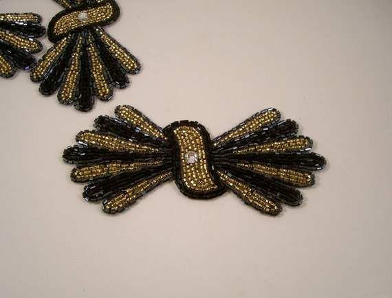 Black and Gold Deco Bow Shape Beaded Applique--One Piece