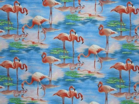 REMNANT--Flamingo Print Pure Cotton Fabric from Elizabeth Studio--1 & 5/8 Yard