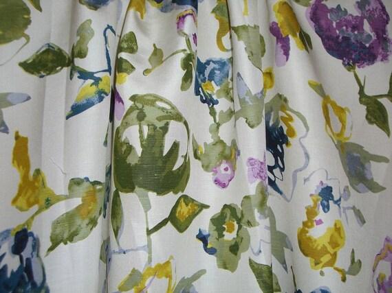REMNANT--Pastel Floral Print Pure Silk Shantung Fabric--1.25 Yard