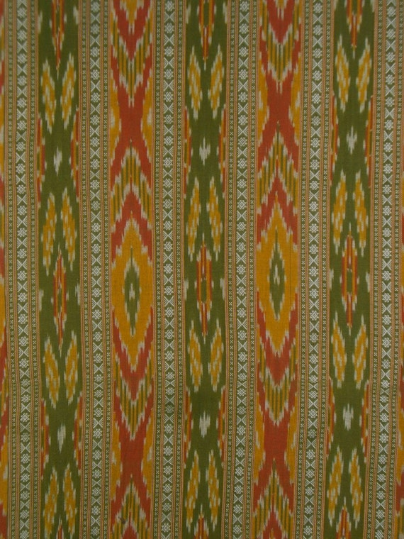 REMNANT---Olive Green Gold and Burnt Orange Ikat and Dobby Weave Cotton Fabric--1.5 Yards