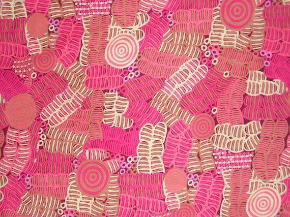 Bush Melon Pink Aboriginal Print Pure Cotton Fabric--One Yard