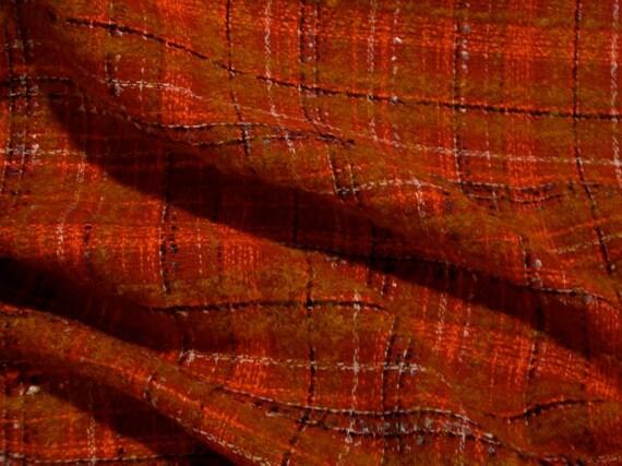 REMNANT--Orange and Red Designer Wool Tweed Fabric--7/8 Yard