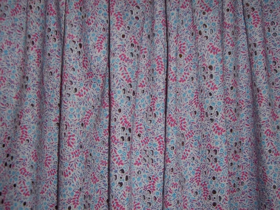 Dusty Lavender Floral Print Pure Cotton Eyelet Lawn--One Yard