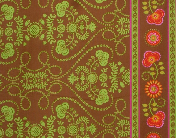 SPECIAL--Chartreuse Brown and Red Band de Fleurs Print Cotton Fabric from Michael Miller--One Yard