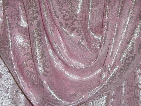 Rose Pink and Silver Silk and Lurex Chiffon Jacquard Fabric--One Yard