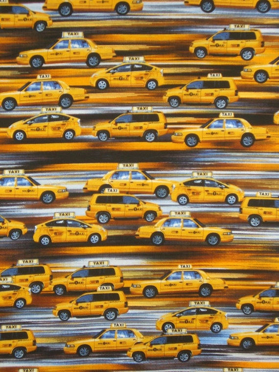 REMNANT--Yellow Taxi Cabs in Motion Print Cotton Fabric from Benartex--One Yard