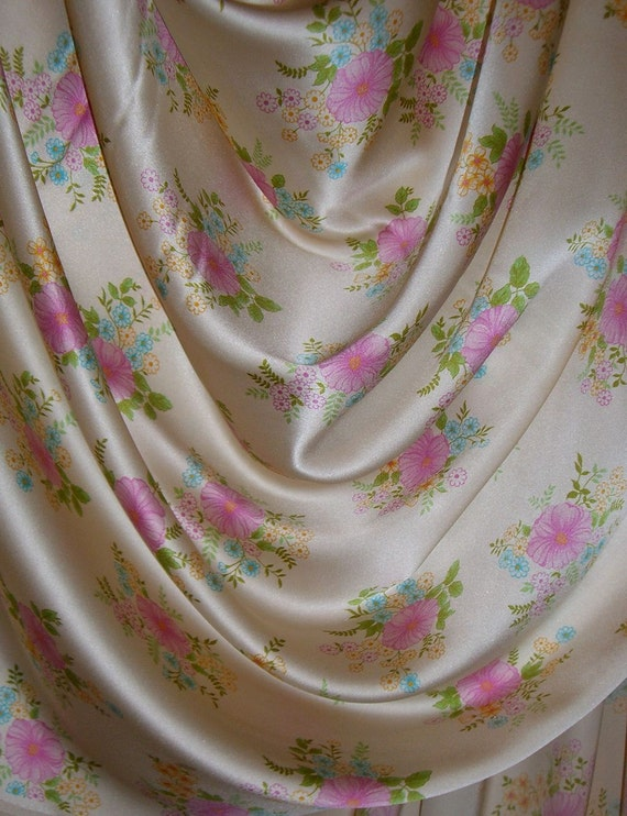 REMNANT--Cream and Pink Floral Print Pure Silk Charmeuse Fabric--1.5 Yards