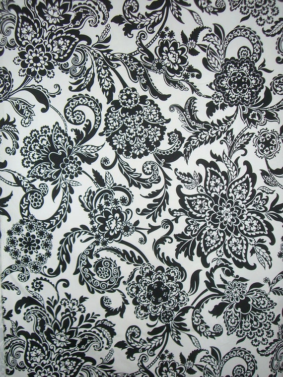 REMNANT--Black on White Damask Print Stretch Cotton Ottoman--2.75 Yards