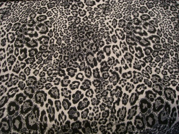 REMNANT--Black, Ecru and Dark Gray Animal Pattern Polyester and Lycra Fabric--1  & 7/8 Yard