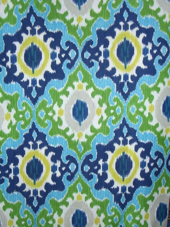 REMNANT--Navy Aqua and Green Maasai Print Pure Cotton Fabric from dear Stella--2 Yards
