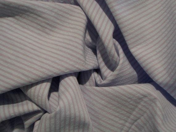 Blue and Lavender Stripe Fine Seersucker Pure Cotton Fabric--One Yard