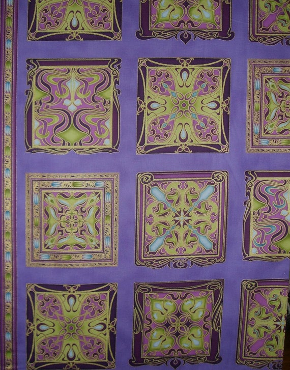 SPECIAL--Purple and Metallic Gold Art Nouveau Block Print Pure Cotton Fabric--One Yard