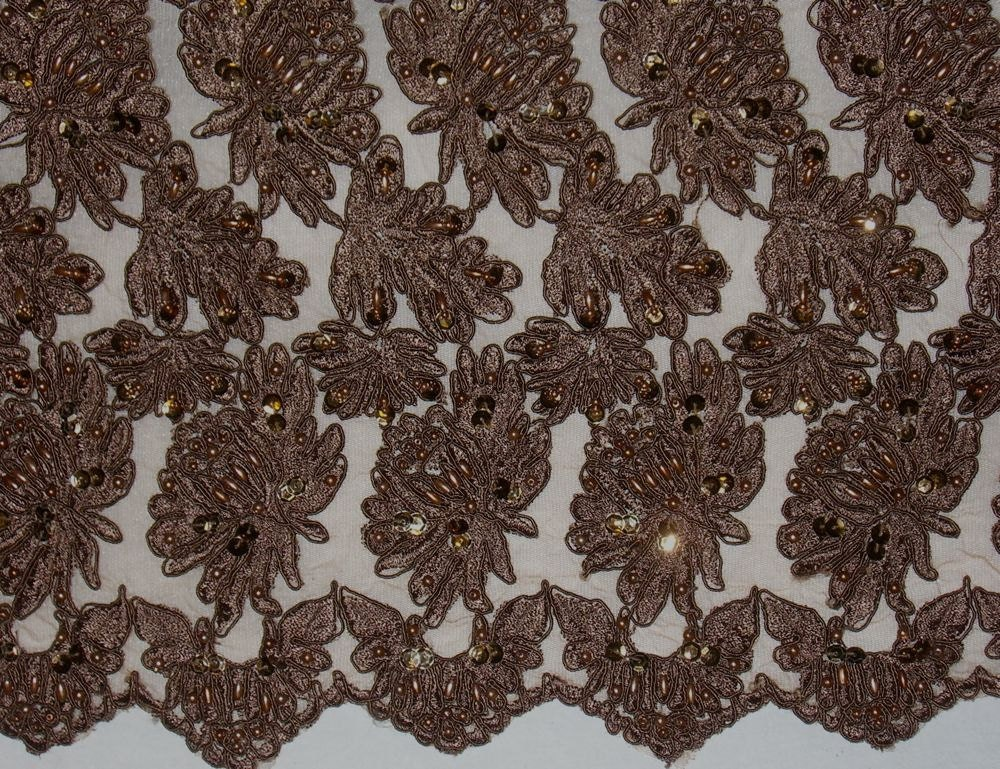 Chocolate Brown Embroidered and Beaded Lace Tulle FabricOne