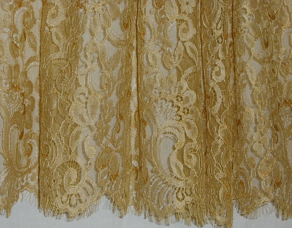 Gold Color Silky Leavers Chantilly Lace Fabricone Yard