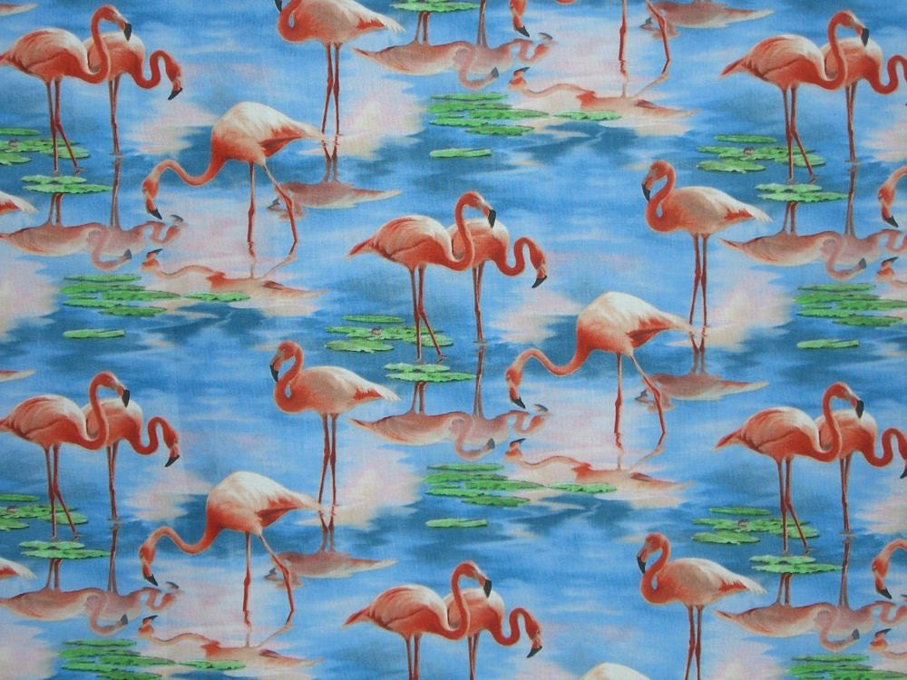 REMNANTFlamingo Print Pure Cotton Fabric from Elizabeth