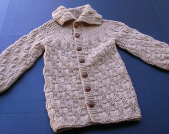 Child's Basket Weave Sweater in Camel
