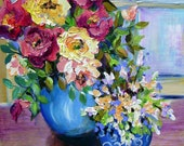 Romantic Two Vase Still Life by Window Floral Original Oil Painting 18 x 24  palette knife Art by Elaine Cory