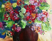 Red Geraniums Still Life Oil Painting  14 x 18 Fine Art by Elaine Cory