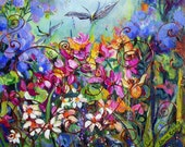 DRAGONFLY GARDEN Floral Original Painting Oil palette knife  24 x 24 Original Art by Elaine Cory